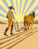 Farmer and horse plowing the farm — Stock Vector