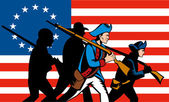 American Minuteman Militia Betsy Ross Flag — Stock Vector