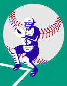 Baseball player catcher with ball — Stock Vector