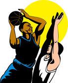 Basketball spieler schießen ball — Stockvektor