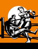 Boxer conectando um nocaute — Vetorial Stock