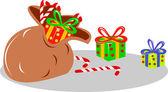 Santa's sack bag of presents — Stock vektor
