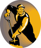 Kolen mijnwerker werker met de schop graven — Stockvector