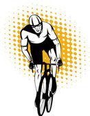 Cyklista muž jezdecké závodní silniční kolo — Stock vektor