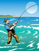 Fisherman surf casting — Stock Vector