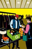 Female shopper compras en el mercadillo de interior — Vector de stock