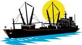 Cargo ship at sea — Cтоковый вектор