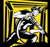 Mijnwerker met pneumatische boor op het werk — Stockvector