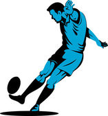 Rugby player kicking the ball — Stock vektor
