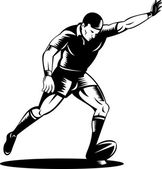 Rugby player kicking the ball — Vector de stock