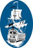 Galleon sailing ship at sea — Stock Vector