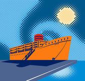 Passenger cargo ship at the docks or pier — Stock Vector