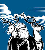 Father Christmas Santa Claus with reindeer — Stock Vector