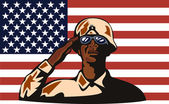 African American soldier serviceman saluting — Stock Vector