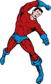 Cartoon super hero running punching — Vecteur