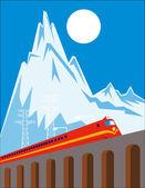 тепловоз поезда, подойдя на железнодорожный виадук — Cтоковый вектор