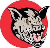 Un razorback de sanglier de cochon sauvage — Vecteur