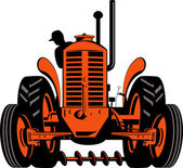 Vintage tractor on isolated background — Stock Vector