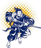Japanese samurai warrior fighting with katana sword on isolated background — Stock Vector