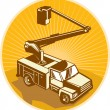 Stock Vector: Cherry Picker Bucket Truck Access Equipment Retro