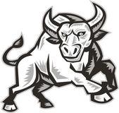Raging Bull Attacking Charging Woodcut — Stock Vector