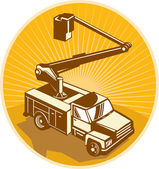 Cherry Picker Bucket Truck Access Equipment Retro — Stock Vector