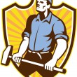 Worker Wielding Sledgehammer Crest Retro — Stock Vector #28836015
