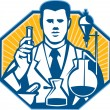 Scientist Lab Researcher Chemist Retro — Stockvektor