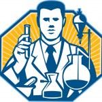 químico de investigador de laboratorio científico retro — Vector de stock