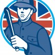 British Bobby Policeman Truncheon Flag — Stock Vector #28836077