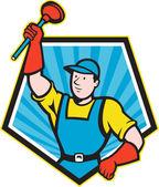 Super loodgieter zwaaiende plunjer pentagon cartoon — Stockvector