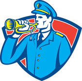 Soldier Blowing Bugle Crest — Stock Vector