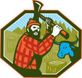 Paul Bunyan LumberJack Axe Blue Ox — Stock Vector