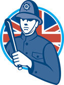 British Bobby Policeman Truncheon Flag — Stock Vector
