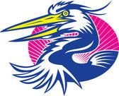Great Blue Heron Head Retro — Stock Vector