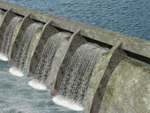 Water dam with flowing water — Stock Photo