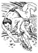 Lutador de sumô japonês lutando — Foto Stock