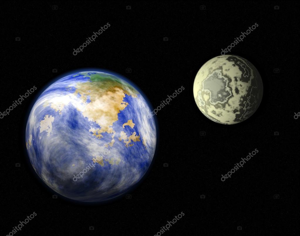 显示行星地球和月亮的示意图