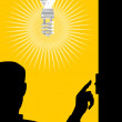 Man Switching On Lighting Bulb — Stock Vector