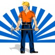 Stock Vector: Coal Miner With Pick Axe