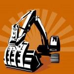 Mechanical Digger Excavator Retro — Stock Vector #28928551
