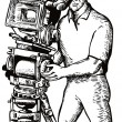 Stock Vector: CameramMovie Director Filming Vintage Camera