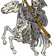 Grim Reaper Skeleton Horseback — Stock Vector