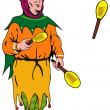 Stock Vector: Jester Juggling