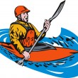 Kayak Paddler — Stockvectorbeeld