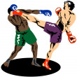 Kickboxer Side Kick — Stock Vector