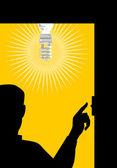 Man Switching On Lighting Bulb — Stock Vector