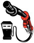 Fuel Pump Station Twisted Nozzle Retro — Stock Vector