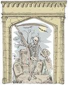 Cemetery Arch Grim Reaper — Stock Vector