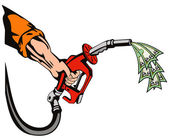Hand Holding Gas Fuel Pump Nozzle — Stock Vector